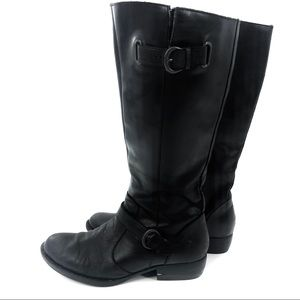 Born Black Leather Tall Riding Boots
